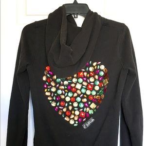 VS PINK Rhinestone Heart & Black Hoodie Size Small